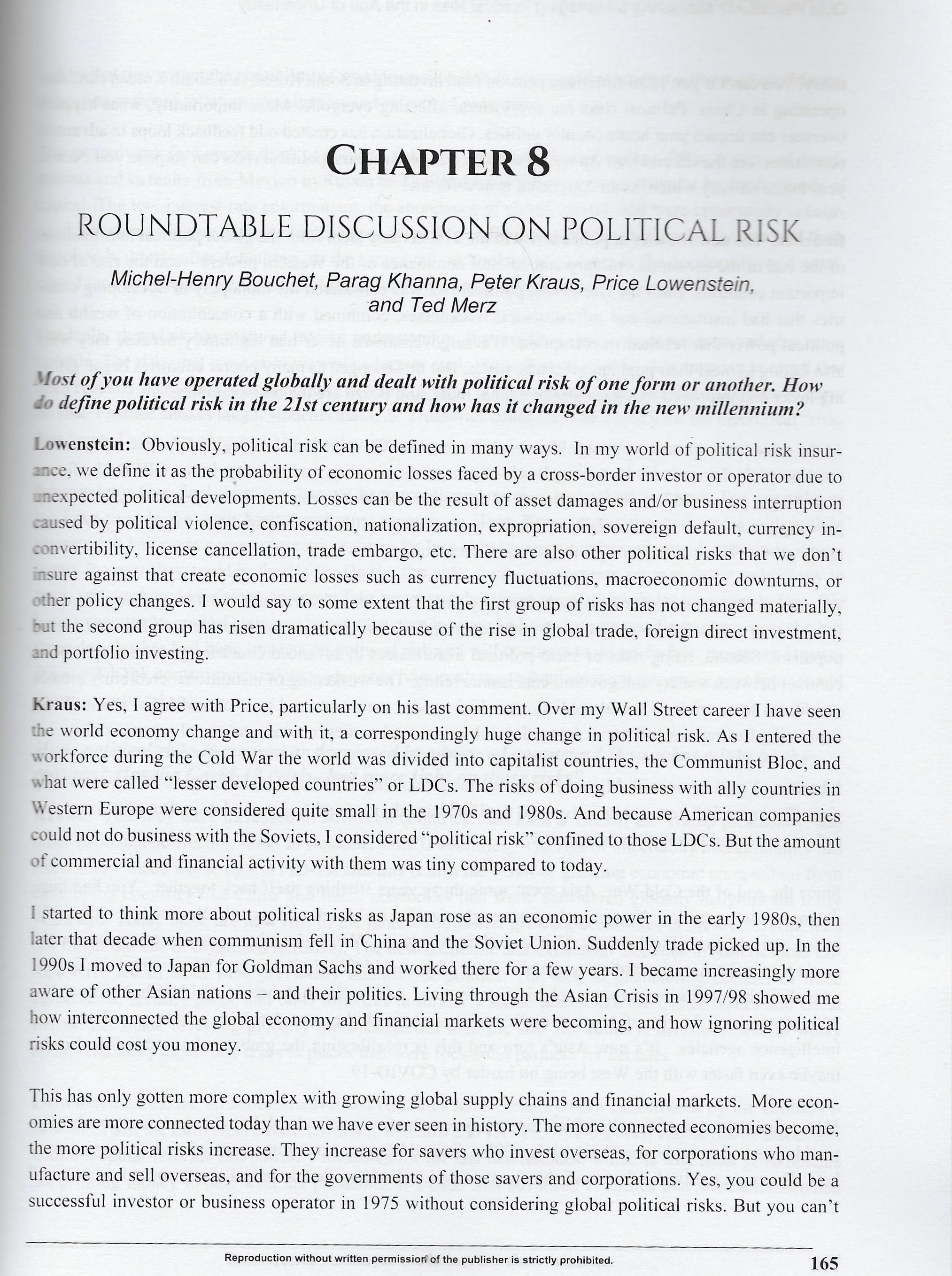 Measuring & Managing Political Risk in the age of Uncertainity