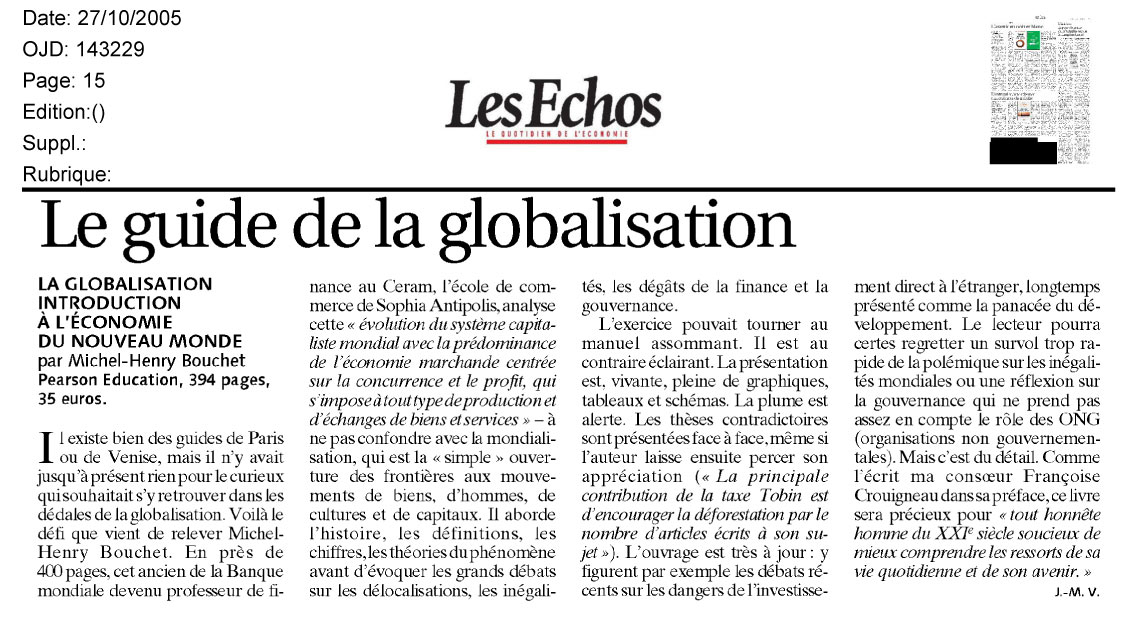 "LES ECHOS-October 27, 2005 :""Le guide de la Globalisation"""
