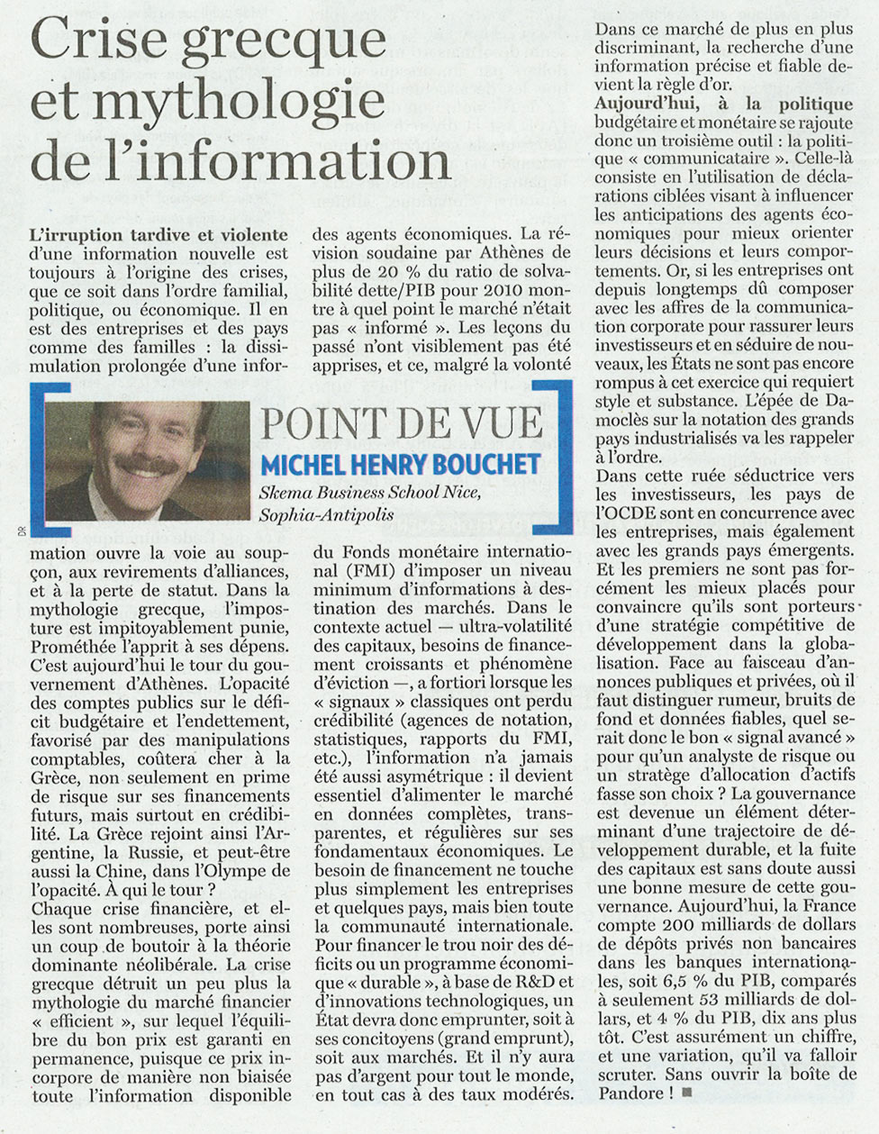 "LA TRIBUNE-March 4, 2010 :"" Crise grecque et mythologie de l'information"""