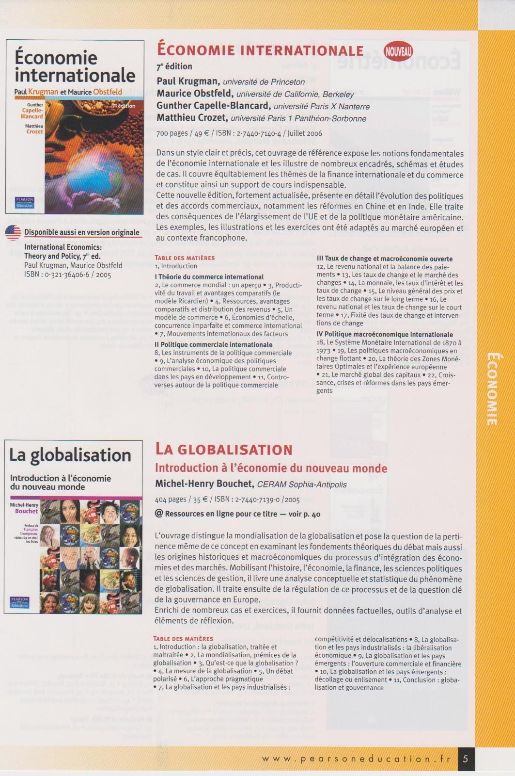 Cover page and Advertising of Pearson Book on Globalization, 2005